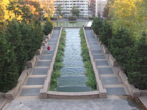 View from the upper balcony at Meridian Hill Park